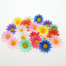 50pcs Small Silk Sunflower 4cm handwork Artificial Flower Head Wedding Decoration DIY Wreath Scrapbooking Craft Fake Flower