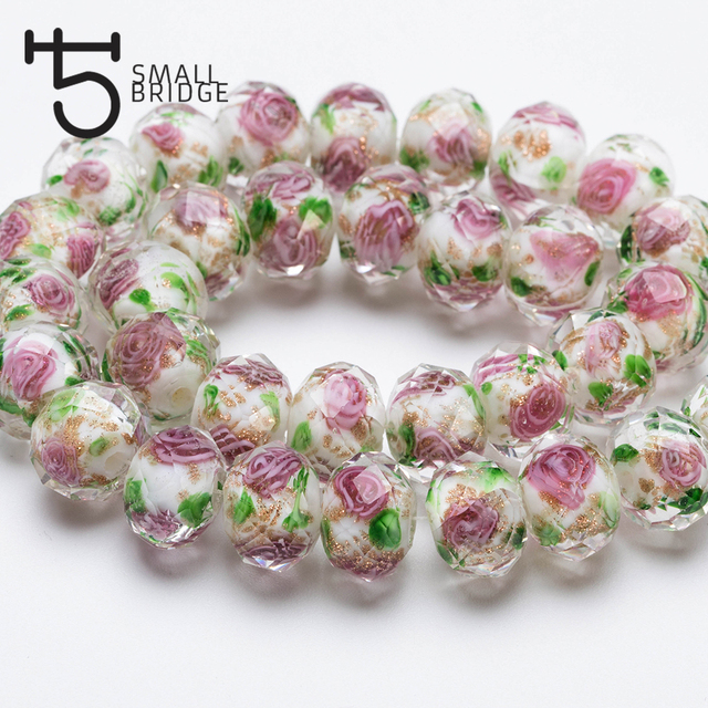 12mm Large Murano Transparent Glass Lampwork Beads for Jewelry Making Women Diy Bracelet Flower Rondelle Faceted Beads L002 2