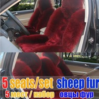 Winter New Arrival Female Fashion Long Wool Car Seat Cover Cushion 5 Seats Set Women High