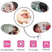 360 градусов вращение 10X зеркало для макияжа увеличительное гибкое зеркало для ванной складной туалетный столик с светодиодный светильник инструменты для макияжа