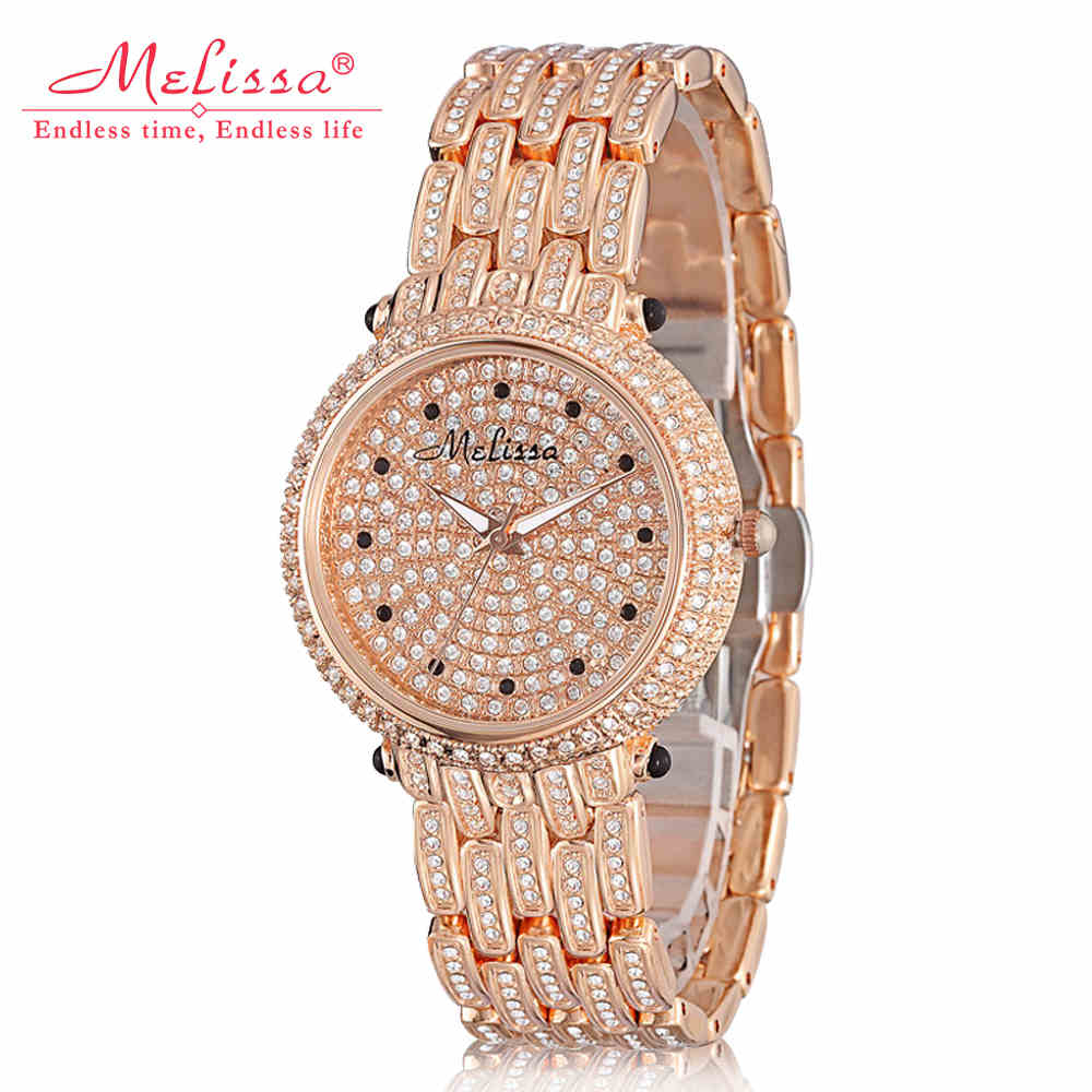Melissa Lady Women's Watch Japan Quartz Top Fashion Crystal Hour Bracelet Stainless Steel Luxury Brand Rhinestones Girl Gift Box цена 2017