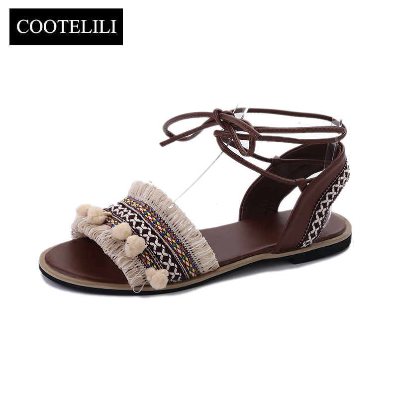 COOTELILI 35-39 Designer Gladiator Sandals Women 2018 Summer Flat Shoes Casual B