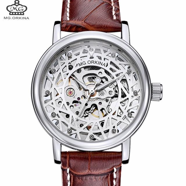 57a492eee5 ORKINA marque femmes montres mécaniques diamant dames montres à remontage  manuel 2018 mode argent squelette cadran