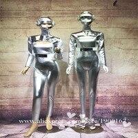 Ночной клуб серебро Цвет комбинезон костюм DS DJ танцевальная команда вечерние костюм космонавта с шлем Рождество Хэллоуин этап одежда для с