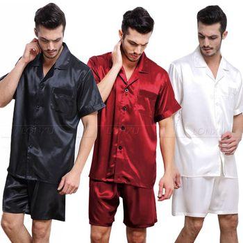 Męska jedwabna satynowa piżama piżama PJS krótki zestaw bielizna nocna Loungewear S M L XL 2XL 3XL 4XL Plus tanie i dobre opinie Mężczyźni Piżamy Skręcić w dół kołnierz REGULAR M712 LONXU Przycisk fly Stałe Lycra Jedwabiu Casual