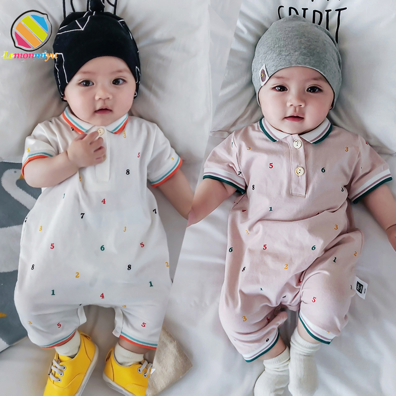 Lemonmiyu Summer Short Baby   Rompers   Print Letter Jumpsuit Short Sleeve Toddler Buttons Coveralls Newborn Turn-Down Collar Outfit