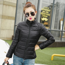 Femme Stand Collar Women Slim Short Jacket White Duck Down Coat Formal Padded Chaqueta Lady Winter Mujer Outwear C6O2738H