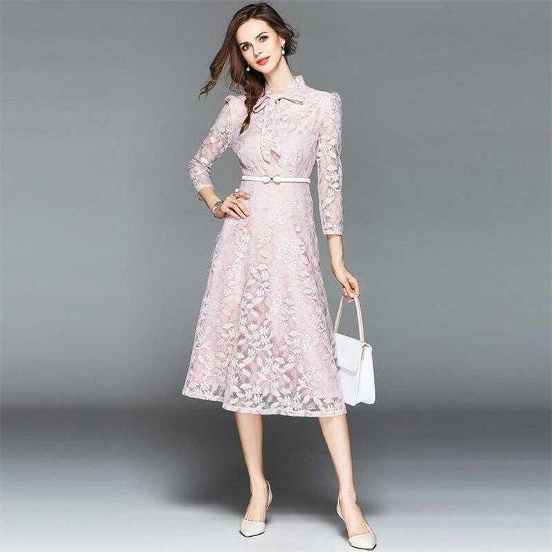 Floral Patchwork rose 3xl La Taille Arc Robes Plus Pu Printemps Robe Bureau Occasionnel Col Partie Grande Dentelle Ciel Rose 2018 Été Douce M XBx66n