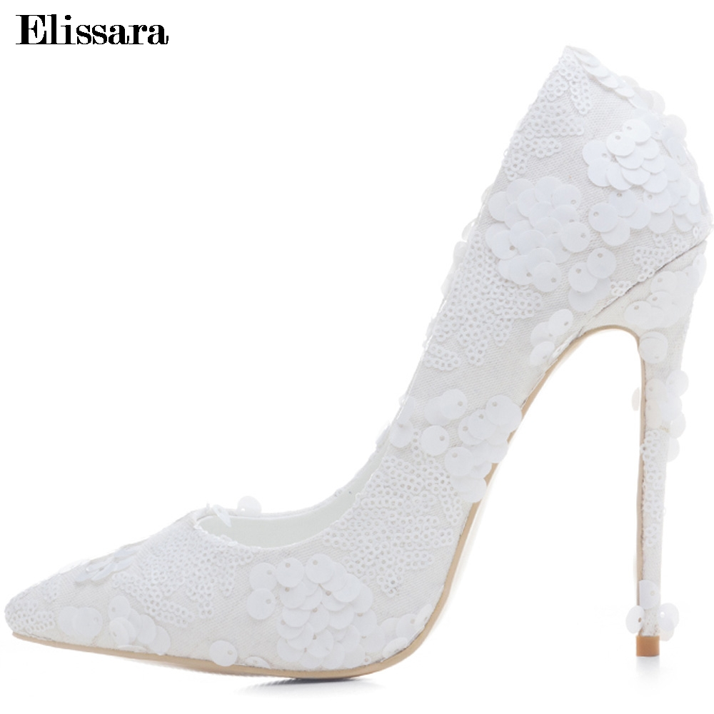 White Women Wedding Party Bridal Bride Shoes for Woman Sexy Stiletto High Heels Pumps Female Shoes Plus Size 33-43  Elissara new arrival white wedding shoes pearl lace bridal bridesmaid shoes high heels shoes dance shoes women pumps free shipping party