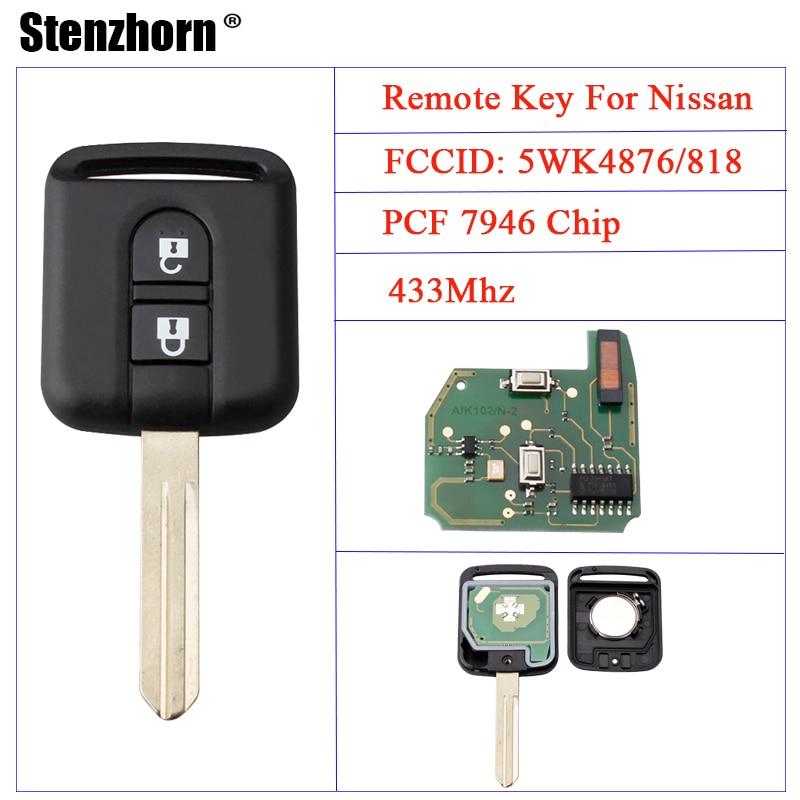 Stenzhorn 433 mhz Télécommande De Remplacement Clé Pour Nissan Elgrand X-TRAIL Qashqai Navara Micra Note NV200 5WK4876/818 Avec ID46 puce