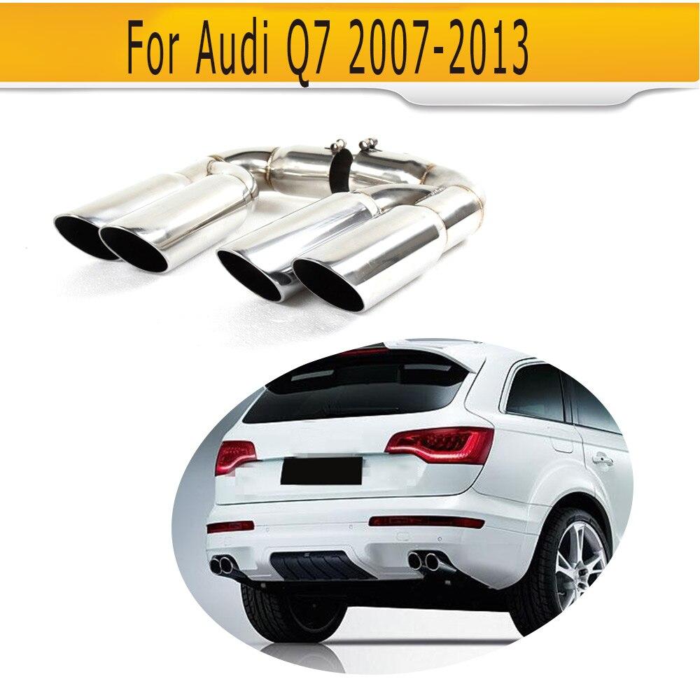 Embouts de silencieux d'échappement de voiture en acier inoxydable pour Audi Q7 RSQ7 Sline Sport utilitaire 4 portes 07-13 A Style