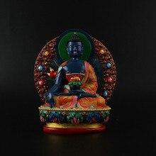 12cm Pharmacist Resin Buddha Figurine, Bodhisattva Delicate Hand Blue Plated Buddhist Tibetan Medicine Figure Statue
