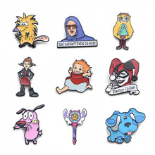 V109 Star The Forces of Evil and Dogs Pin Metal Enamel Pins and Brooches Fashion Lapel Pin Backpack Bags Badge Collection Gifts v134 home alone metal enamel pins and brooches fashion lapel pin backpack bags badge collection gifts