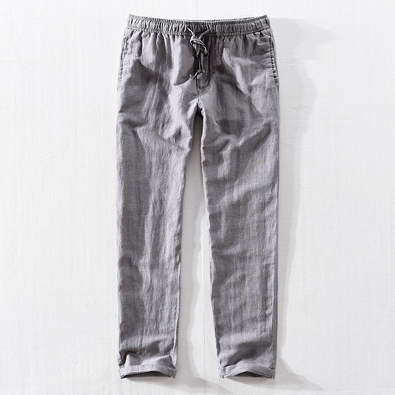 Causal Linen Pants Men High Quality Summer Breathable Man Compression Pants Asian Size Solid Color Comfortable Trousers