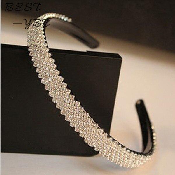 15mm width Fashion women crystal headband rhinestone hairband bridal hair acessories hair jewelry head jewelry