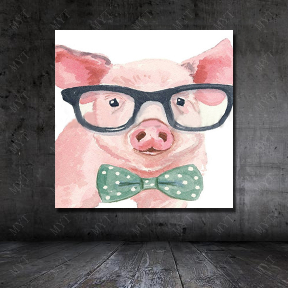 High Quality Wall Art Home Decor Pictures Modern Glasses Pig Oil