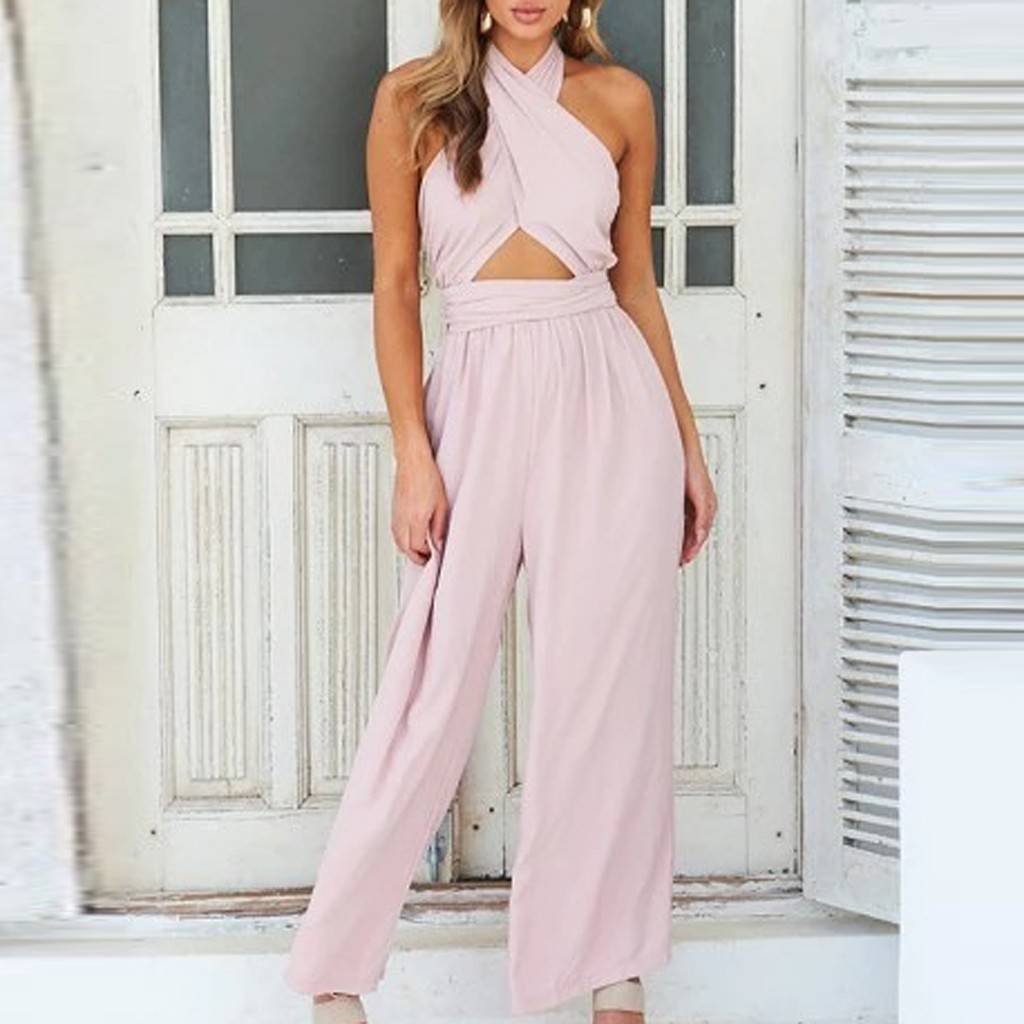 Plus Size Womens Strappy Pockets Backless Loose Playsuit Shorts Holiday Jumpsuit