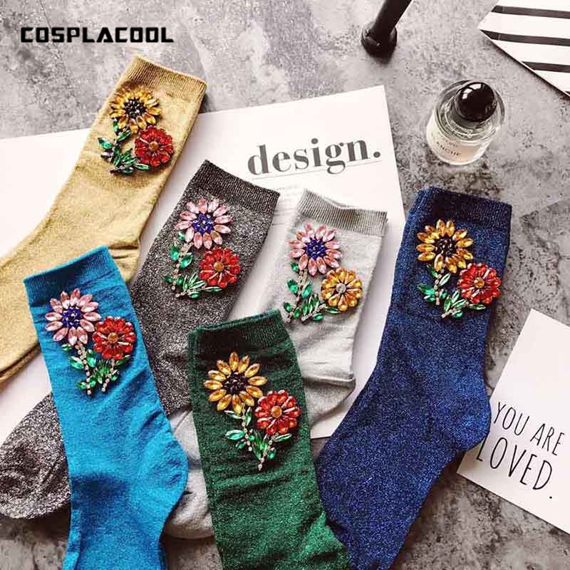 [COSPLACOOL]New Arrived Colorful Sunflower Gem Silver Sequins Meias handmade Heap heap calcetines Harajuku Funny   socks   women