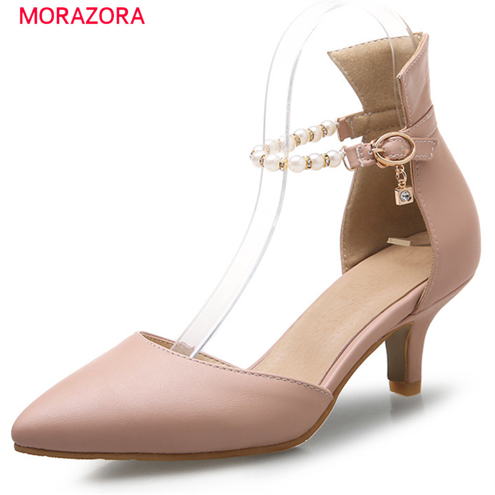 MORAZORA new prevail summer spring high heels pumps women shoes with buckle crystal pointed toe thin heel female shoes new 2017 spring summer women shoes pointed toe high quality brand fashion womens flats ladies plus size 41 sweet flock t179