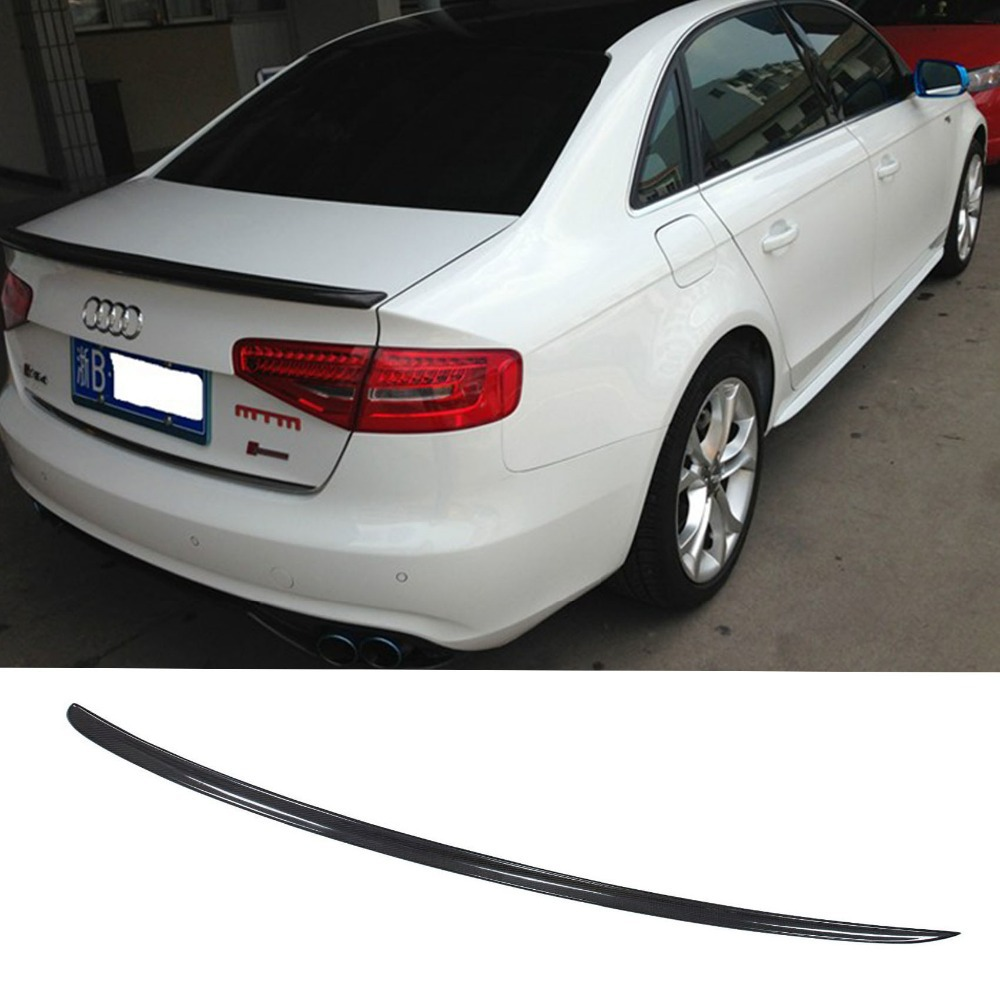 A4 B9 Car Styling Carbon Fiber Rear Trunk Lip Wing Spoiler  for Audi 2013-2015 S4 Style hot car abs chrome carbon fiber rear door wing tail spoiler frame plate trim for honda civic 10th sedan 2016 2017 2018 1pcs