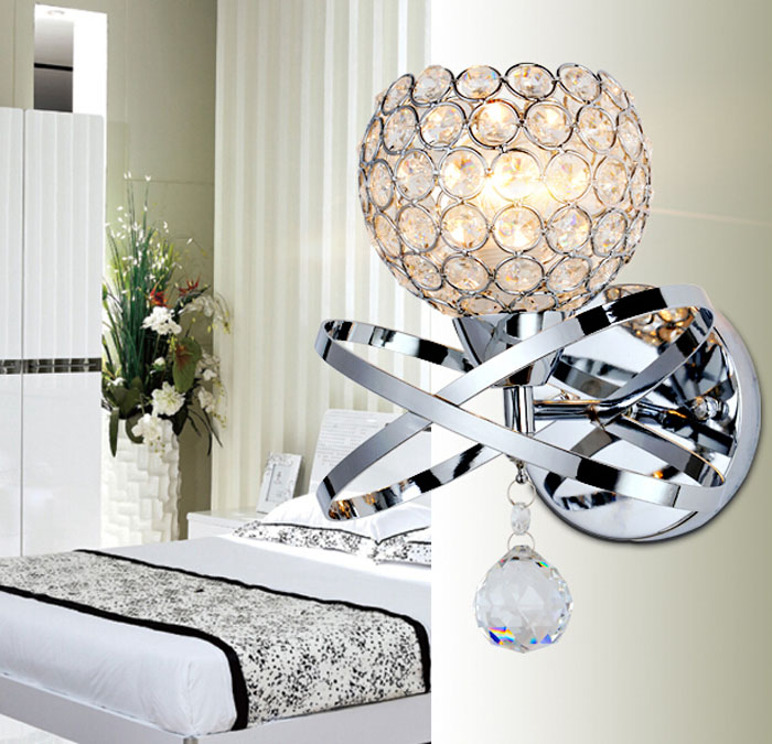 ФОТО Z Modern Crystal Golden Wall Lamp Bedroom Stair Round Pull Switch Wall Lights E14 LED Wall Lights Luxury Lamp For Bedroom Decor