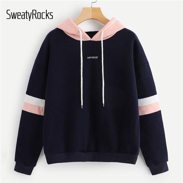 SweatyRocks темно контраст панель толстовка с капюшоном со шнуровкой Толстовка с длинным рукавом Пуловеры для женщин для толстовки осень 2018 г. Повседневное кофты