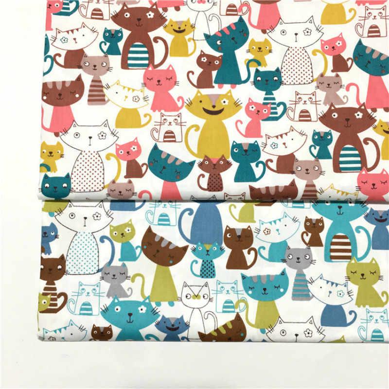 Drukowane kolorowe koty tkanina bawełniana ze splotu skośnego o pół metra do patchworku pikowania pościel dla dzieci do szycia materiał tkanina