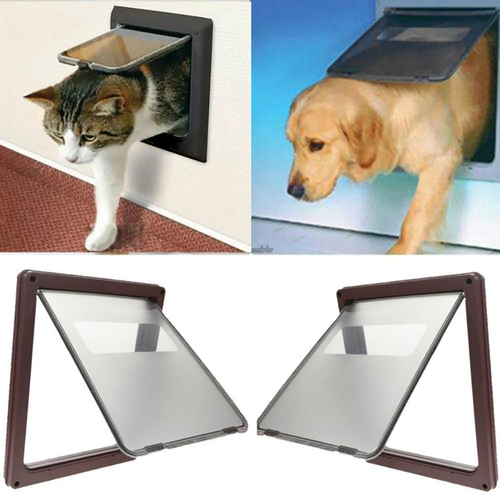 Go In and Out 4 Way Locking Safe Flap Door Entrance Gate for Pets Cat Puppy Dog ...