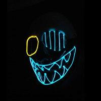 ハロウィンledフェイスマスクネオン光るパーティー用品ナイト片目歯マスクサウンド活