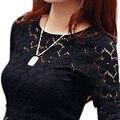 Вышивка Кружева Крючком Женщины Блузка 2015 Весна М-XXXXXL Плюс Размер С Длинными рукавами выдалбливают Кружева Блузка Blusas feminina BH78