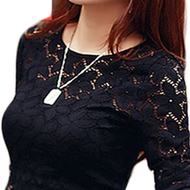 Embroidery Lace Crochet Women Blouse 2015 Spring M-XXXXXL Plus Size Long-sleeved Hollow out Lace Blouse Blusas feminina BH78