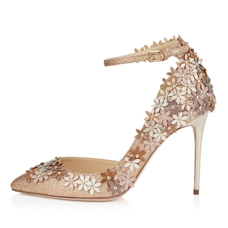 Paillettes tissu fleur décor pompes bout pointu parti stiletto chaussures nighe club mariage mariée femme brillant chaussures spécial chaussures - 3
