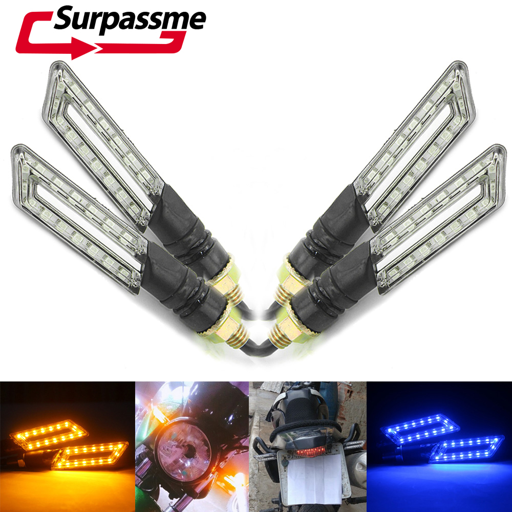 2 Pairs Motorcycle LED Turn Signals Flexible Left Right Turn Signal Lights Universal For Honda Kawasaki Yamaha Ducati Aprilia