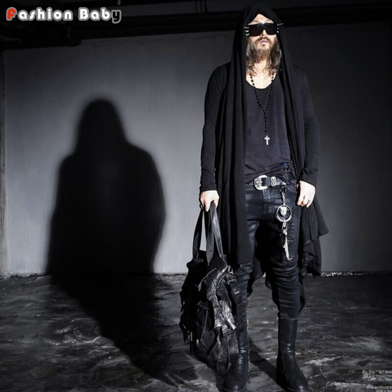 Mens Yuppie Long Hooded Cardigan 2016 Spring Autumn Punk Gothic Loose Casual Outwear Coat British Style