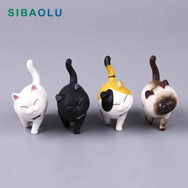 Kitten with Bell figurine cartoon Cat animal Model home miniature fairy garden house cake desk decoration DIY accessories modern