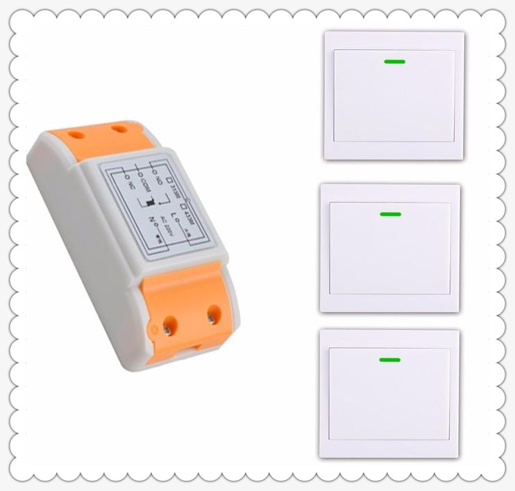 New 220 v 1 ch remote control switch 1 * receiver + 3 * transmitter new can paste the wall for Smart home the replacement remote for sea 868 smart 2 3 switch compatible 868mhz remote transmitter