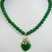 2 вида стилей! Красивые 7-8 мм бисер из зеленого нефрита с зеленым сердцем нефритовый кулон ожерелье для анниверары и вечерние