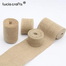 aa89c1a05 Lucia artesanía 3y/lote 4 cm/5 cm/8 cm/10 cm Yute Natural cintas rollo tela  de la arpillera boda decoración DIY arte 047005023