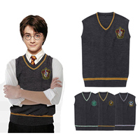 Custom Harri Potter Sweater Embroidery Gryffindor Hufflepuff Slytherin Ravenclaw V Neck Vest Daily Clothes Cosplay Costumes