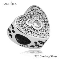 925 Sterling Silver Mickey Mouse Sparkling Heart Charm Fit Woman DIY Charms Original Bracelets Beads For