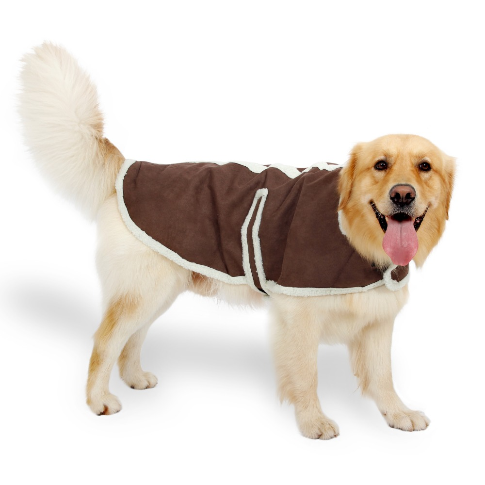 Large Dog Clothes Suede Fabric Dog Clothes Winter Warm Clothing for Dogs Jacket Pet Dog Coat Beige Brown Color Cat Puppy Apparel