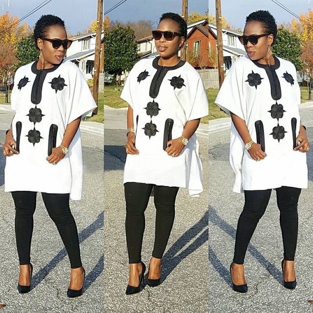 Hd Dashiki African Clothes Cotton Women Outfit Suits Bazin Dresses For Women Top -9302