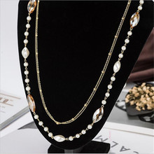 CX-Shirling Gold Alloy Chain Necklaces New Design Fashion Brand Crystal Pearl Necklace Women Quality Jewelry