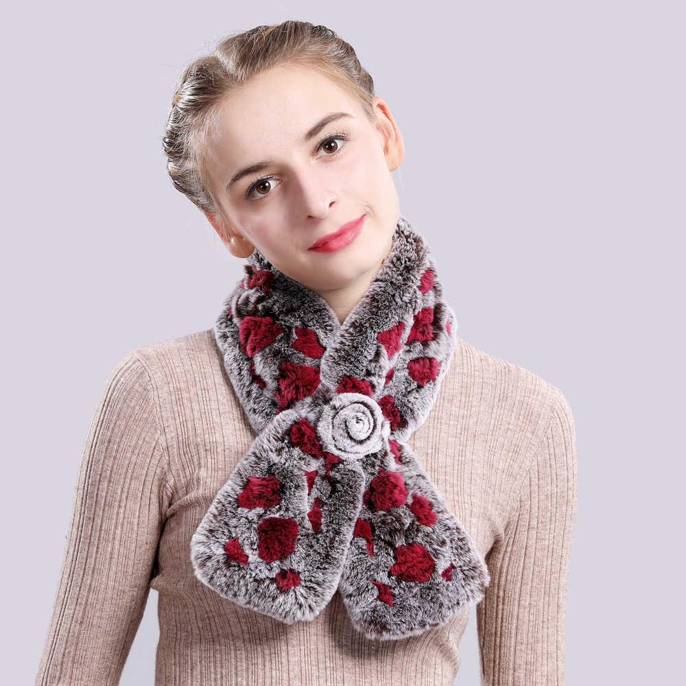 2019 Новый женский теплый мягкий Настоящий мех кролика шарф 100% натуральный мех кролика Рекс шарф-кольцо грил вязаные шарфы из кроличьего меха