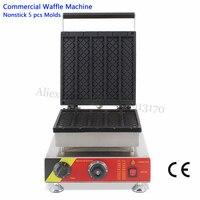 Eletric Lange Rechteck Waffel Maschine Edelstahl Streifen Waffel Baker Maker 220 v 110 v 5 stücke in Einem Fach