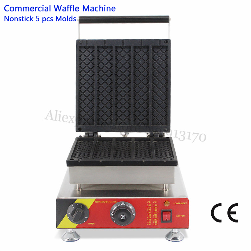 Eletric Long Rectangle Waffle Machine Stainless Steel Strip Waffle Baker Maker 220V 110V 5pcs in One TrayEletric Long Rectangle Waffle Machine Stainless Steel Strip Waffle Baker Maker 220V 110V 5pcs in One Tray