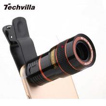 Techvilla Универсальный 8X зум объектива телескопа лупы клип на бинокль фотографии для мобильного телефона смартфон черный