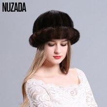 Marca NUZADA Knit Caps malha 100% Chapéu de Pele de Vison Real Mulheres Moda Senhora Menina Skullies Gorros Bonnet Cap Espessamento Manter quente