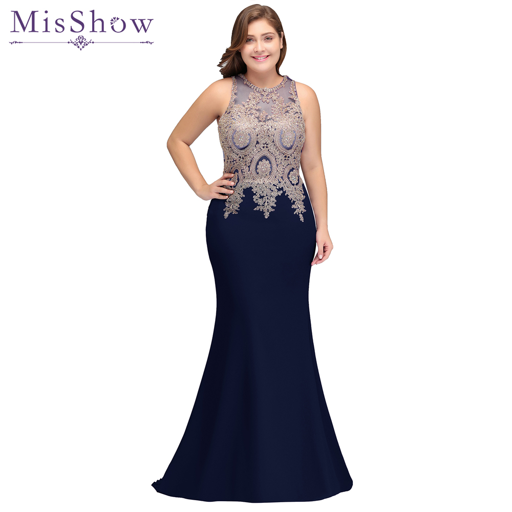 2019 Mother of the Bride Dresses plus size satin Dress Elegant sleeveless applique Long Mermaid Evening Dress Mother Bride Gown(China)