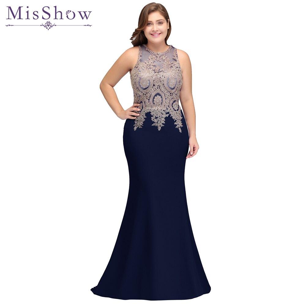 2019 mère de la mariée robes de grande taille robe en satin élégant sans manches applique longue sirène robe de soirée mère robe de mariée